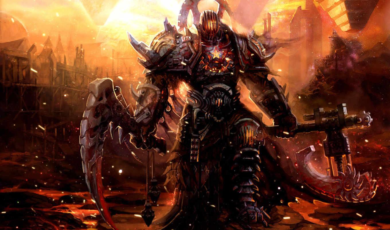 воин, warhammer, фэнтези, девушка, доспех, оружие, art, графика, fantasy,
