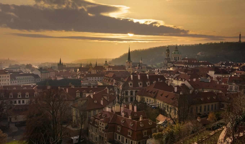 прага, чехия, панорама, республика, здания,