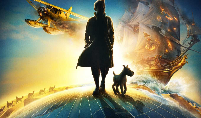 мужчина, планете, шагает, приключения, тинтина,