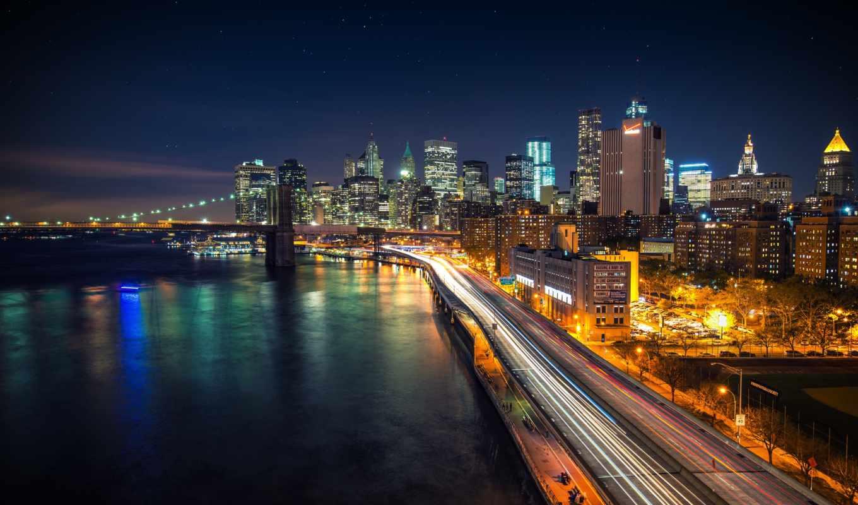 ночь, звездная, город, нью, york, манхэттене,