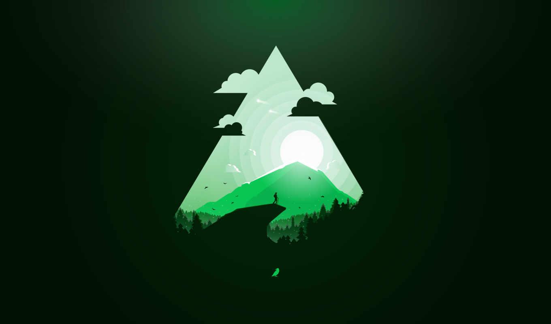 зелёный, minimal, рай, desktop, mobile, high,