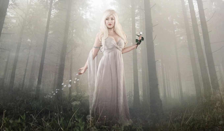 девушка, цветы, рука, лес, blonde, дек, взгляд, mist,
