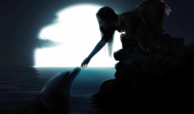 обои, луна, девушка, дельфин, птицы, вода, ночь, м