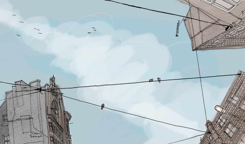 небо, минимализм, птицы, арт, креатив, рисунок, провода, дома, картинка, barnard, laura, city,