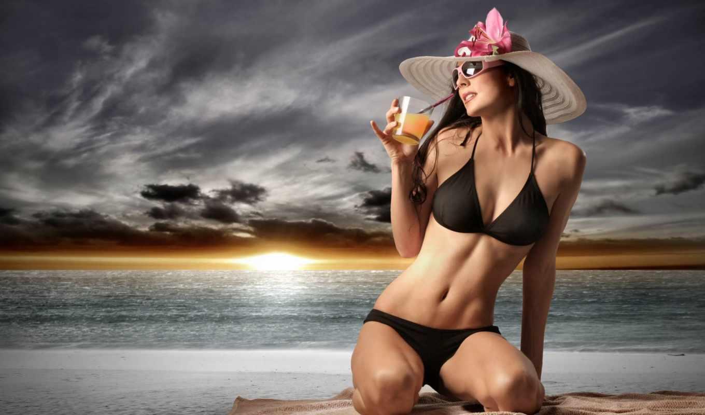 коктейль, девушка, очки, море,