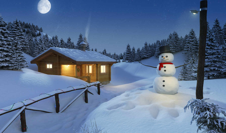 christmas, log, winter, scene, stock, снеговик, сельской, cozy, год, коттедж, new,