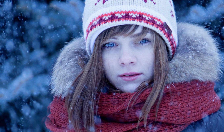 девушка, картинка, portrait, телефон, бесплатную, снег, шапка, нояб, mobile, картинку,