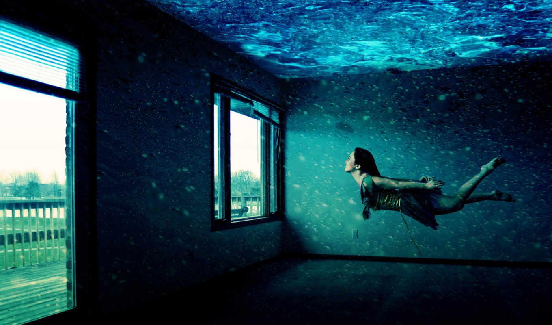 девушка, окна, водой, комната, под,