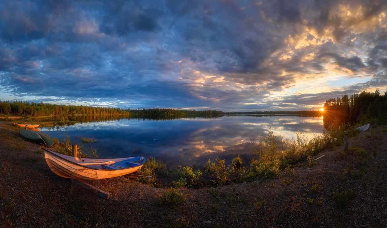 landscape, tapety, лодка, озеро, природа, pulpiciak, wygaszacze, hour, natural, słońca, день