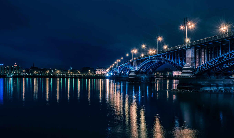 ночь, мост, город, река, mainc, огонь, ночное, фонарик, рейна, germanii, небоскрёба