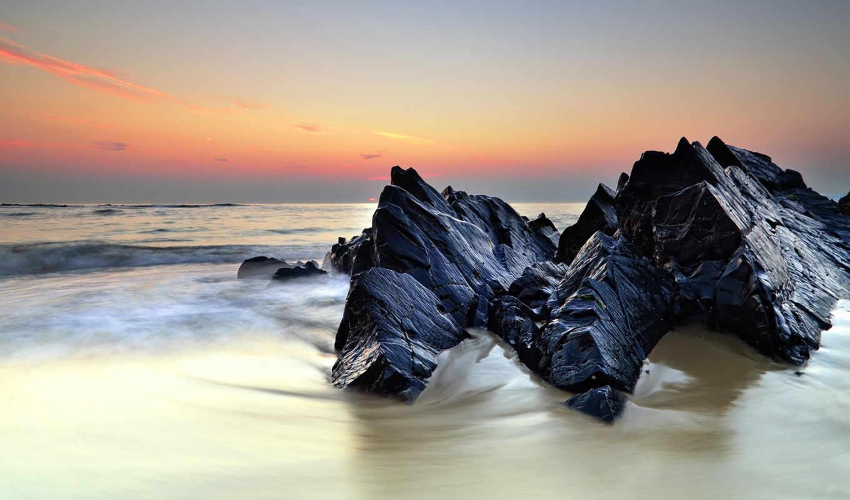 море, камни, закат, wallpaper, рисунки, rocks, sea, shore, природа, обоев, картинка, hd, популярные, and, wallpapers, to, фотографии, desktop,