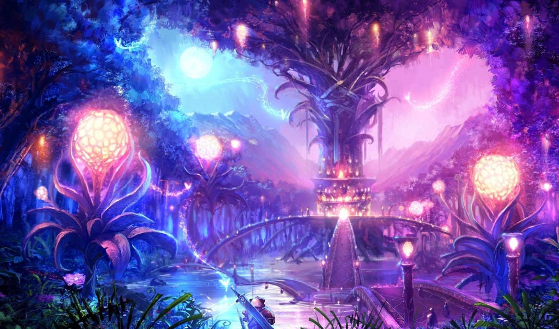 tera, online, пейзаж, магия, огни, ночь, луна, дерево, сферы, фэнтези, город, мост,