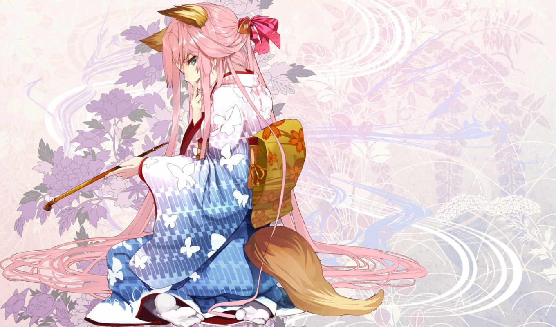 кимоно, kitsune, девушка, аниме, hair, ears, animal, girls, pink, pixiv, хвост, fox, long,