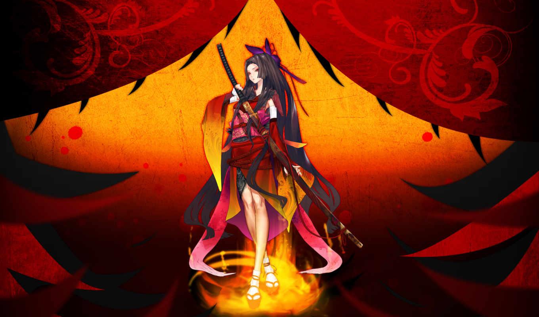 аниме, девушка, меч, арт, оружие, катана, resheph, redjuice,