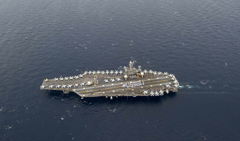 uss, джордж, cvn, washington, авианосец, самолёт, aboard, sailors,