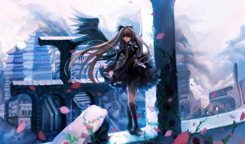 anime, девушка, платье,