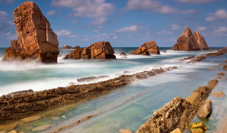 море, скалы, landscape, камни, берег, пляж, waves, моря, ocean, фоны,