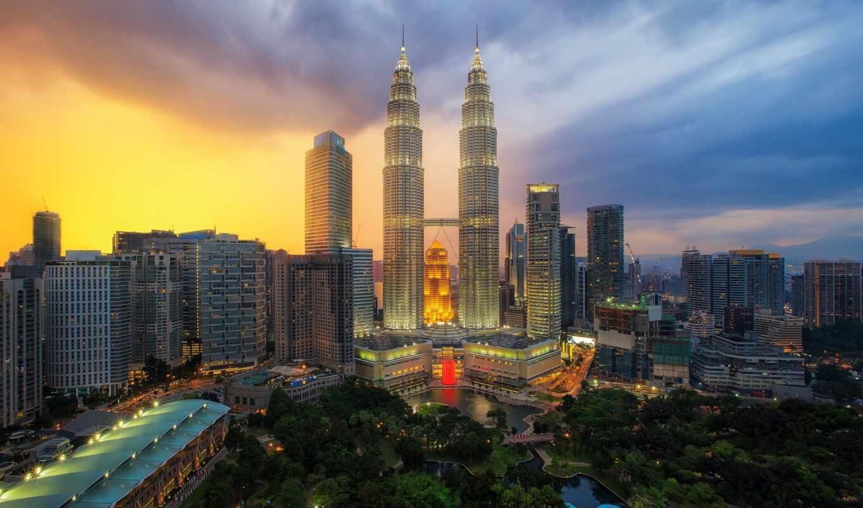 башня, twin, petrona, kuala, lumpur, malaysia