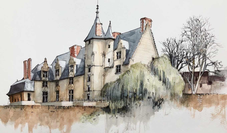 art, oleo, pintura, aldeia, build, house, fine, elo, watercolor, тема