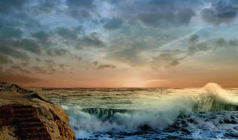 обои, природы, волны, море, пейзажи, фото, обоев,