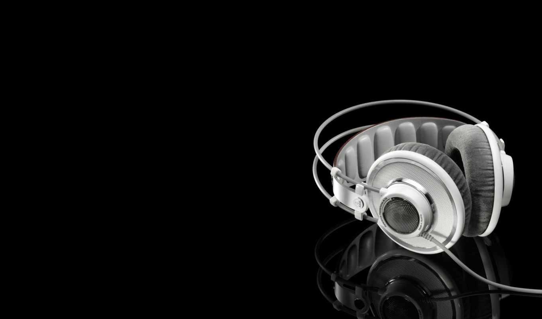 music, headphones, wallpaper, чёрный, белый