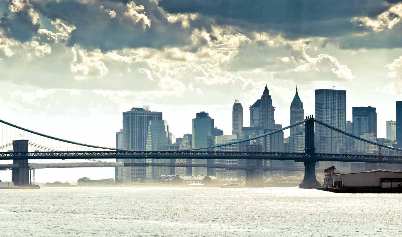 ,город, мост,небоскребы,залив