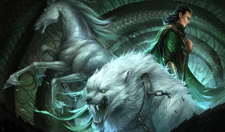 loki, sandara, конь, арт, волк, ошейник, змей, цепь, fantasy, фэнтези, парень,,