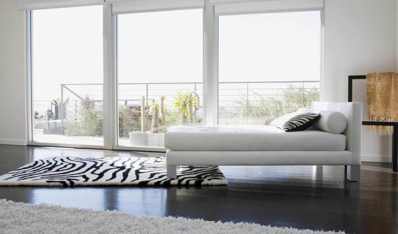 интерьер, дизайн, кровать, ковёр, окно, подушка, зебра, белый,