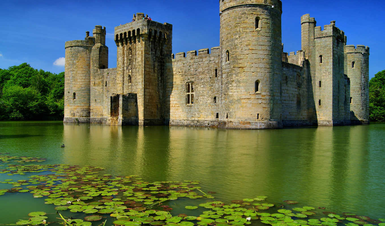 замок, bodiam, вода, лето, англия, castle, озеро, лес, картинка,