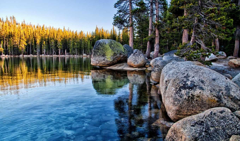 park, yosemite, narodowy, красивые, природа, tenaya, kalifornia, озеро, national,