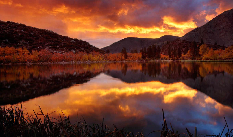 осень, закат, путешествуя, миром, озеро, горы,