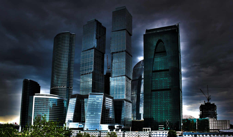 москва, город, здания, ночь, construction, красивые, небоскребы,