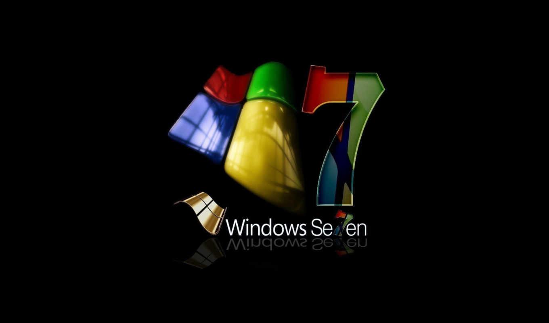 windows, se7en, лого, фон, чёрный
