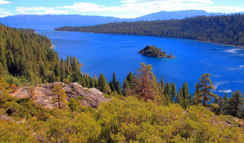 kalifornia, tahoe, озеро, park, state, bay, emerald, jezioro, wysepka, disneyland,