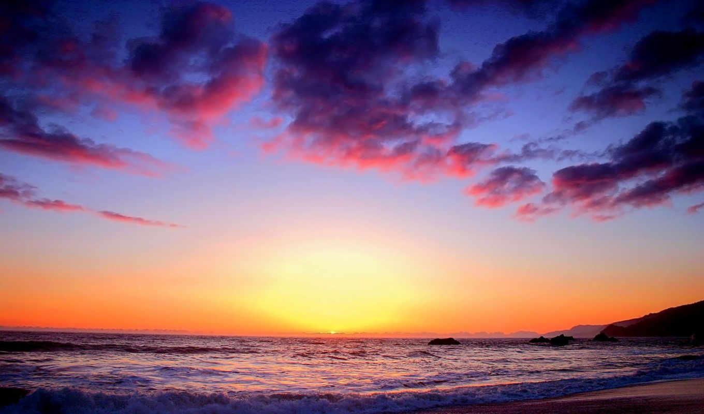 небо, прибой, закат, смотрите,