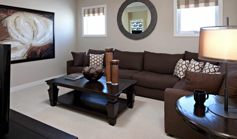 коричневый, интерьер, комната, дизайн, стиль, мебель, картинка, диван, подушки, daily,