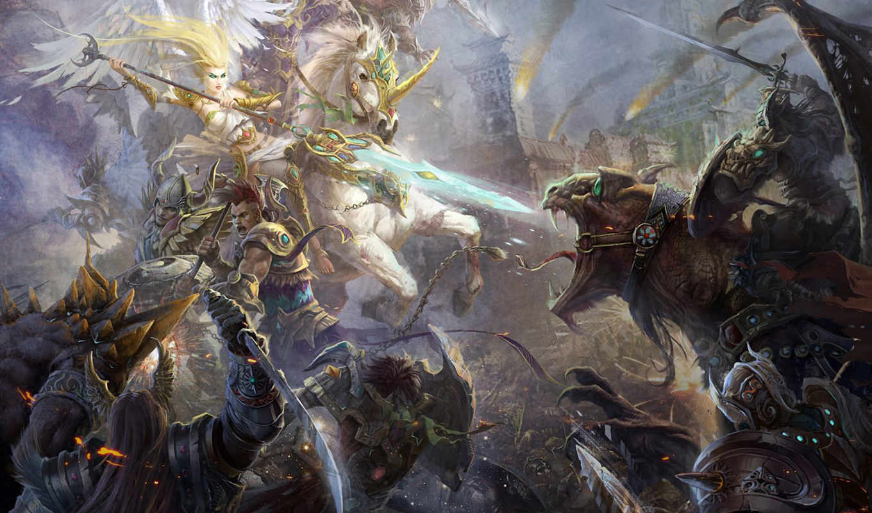 битва, арт, монстры, войско, копьё, ангел,