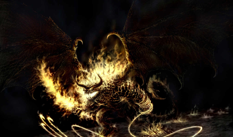 балрог, колец, властелин, демон, огонь, картинка,