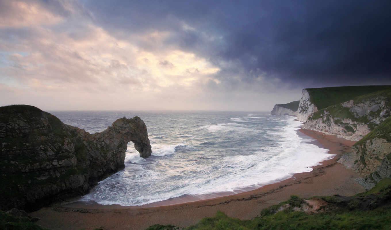 море, арка, волны, пляж, скалы, картинка,