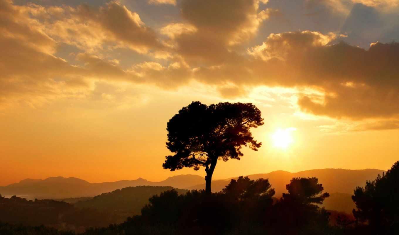 закат, горы, облака, дерево, sun, хорошо, плохой, winter, пойдет,