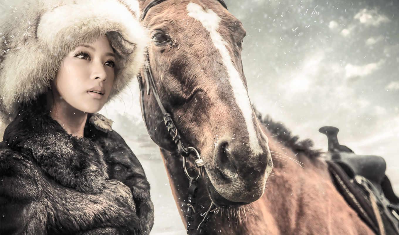 zima, снег, лошадь, кон, devushka, meh, лошади,
