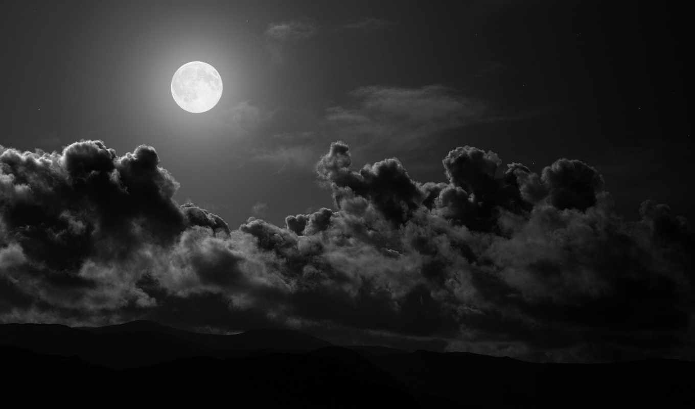 чёрно, белые, oblaka, небо, white, белое, луна, clouds, black,