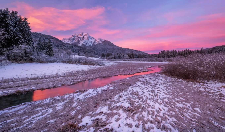 winter, гора, galaxy, ручей, снег