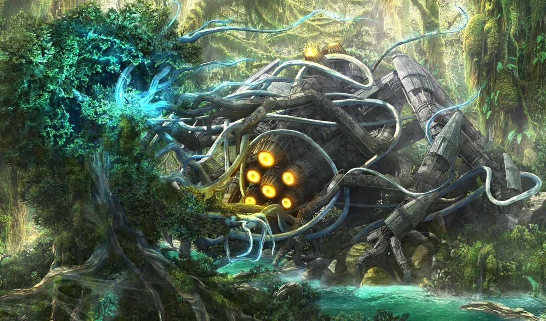 корабль, рисунок, ognian, bonev, лес, двигатель, collide, world,
