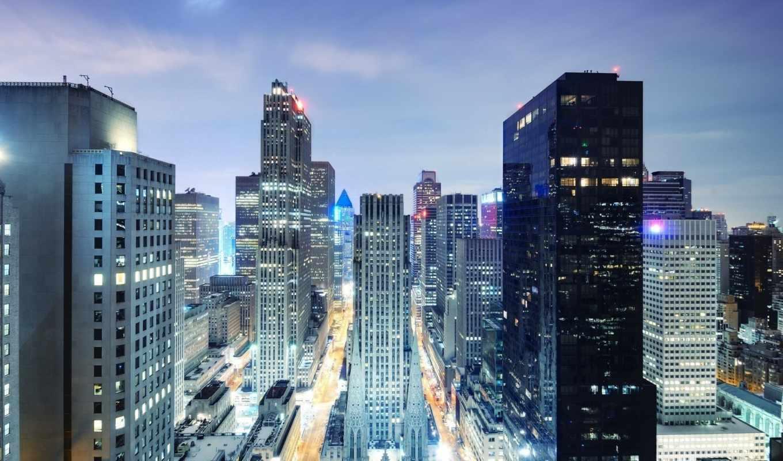 night, manhattan, midtown, свет, ночного, города,