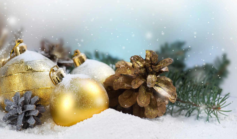 шишки, christmas, праздник, шары, снег, зима, елка, игрушки, новый, украшения, новогодние, год, снегу,