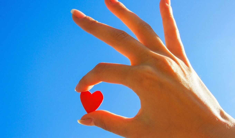 сердце, рука, она, небо, красный