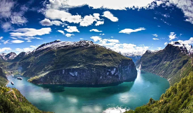 горы, красивые, норвегия, заставки, daily, вид, только, облака, ford, залив, landscape,