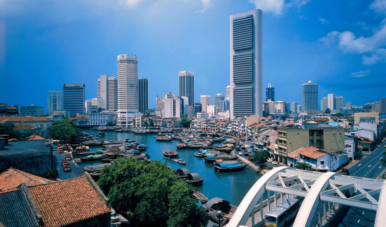 ,Сингапур, река, мост,высотки,