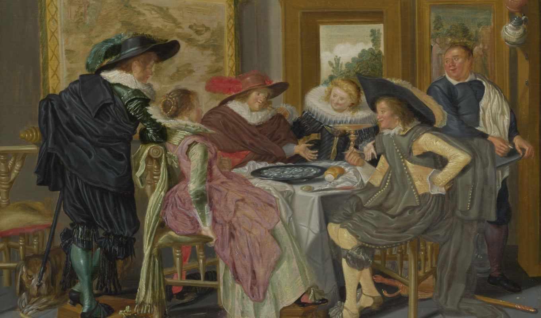 dirck, hals, dirk, столик, gallery, национальная, лондонская, сторона, галс,